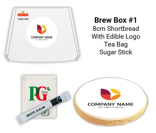 Letterbox Biscuits and Brew Boxes with tea bag & sugar stick