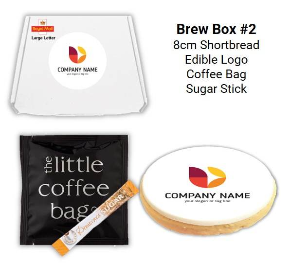 Letterbox Biscuits and Brew Boxes with coffee bag & sugar stick