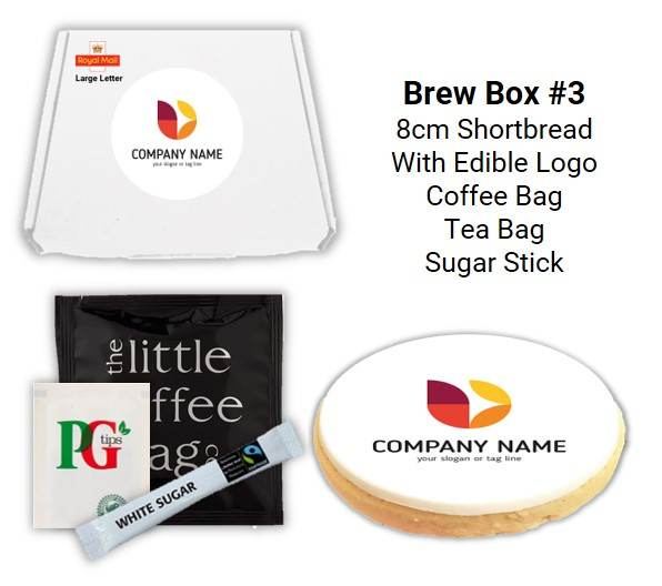 Letterbox Biscuits and Brew Boxes with coffee bag, tea bag & sugar stick