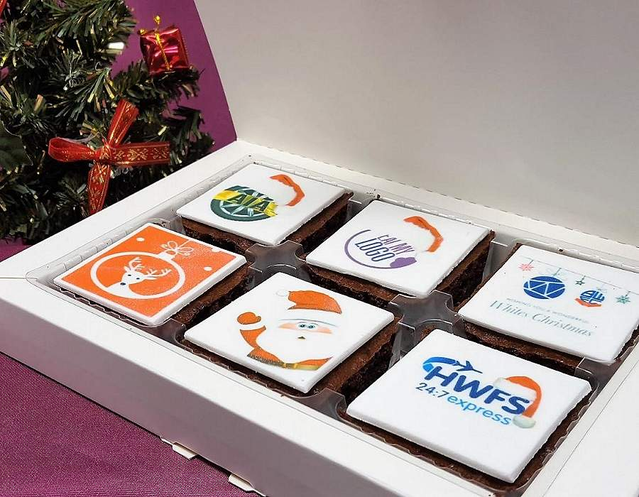 Letterbox Cakes Chocolate Orange Brownie 6 Pack Tray contents