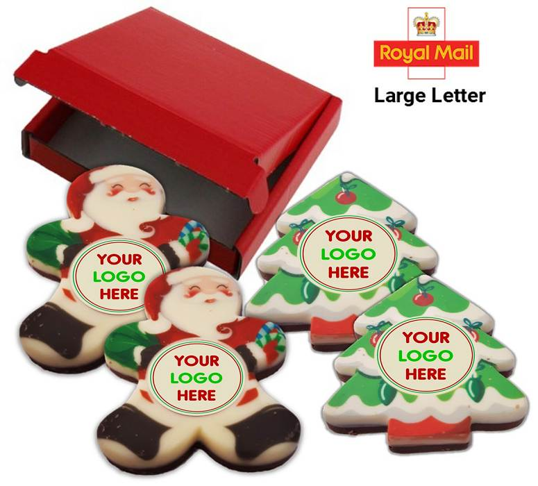 Santa and Christmas trees shaped Letterbox Xmas Chocolate Bars with a Printed Logo