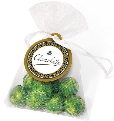 Logo Branded Chocolate Sprouts in an Organza Bag in a white bag
