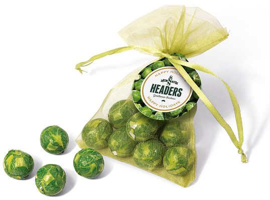 Logo Branded Chocolate Sprouts in an Organza Bag
