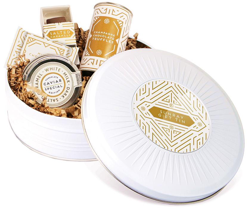 Logo Branded Christmas Chocolate Selection in a White Sunray Gift Tin