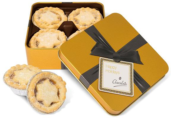 Logo Branded Mince Pies in a Small Gold Square Tin