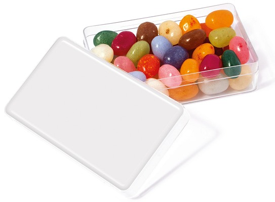 Jelly Beans in a Maxi Rectangle with blank lid for logo customisation