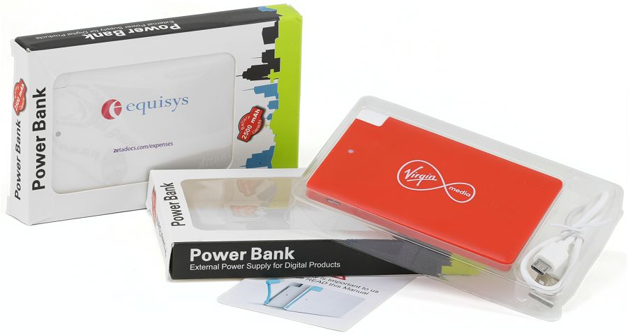 Promo Power Bank Credit Card Sized packed in a window box including USB connecting lead