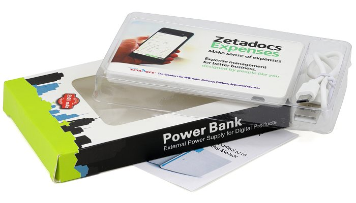 Express Credit Card Power Bank packed in a window box including USB connecting lead