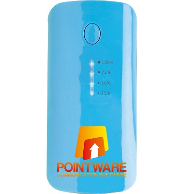 Power Bank Promotional Gift  light blue front showing charging lights.