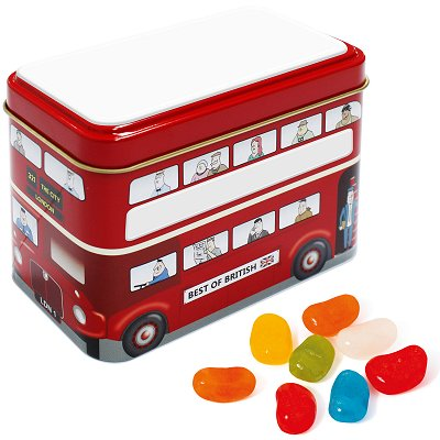 Bus Sweet Tin with Jelly Beans with a blank roof and side panels before we print your logo
