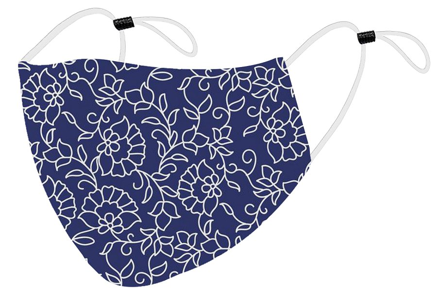 Blue example of the face cover with floral design