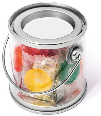 Promo Sweets Polo Fruits in a Mini Bucket with a blank tin lid before we print your logo