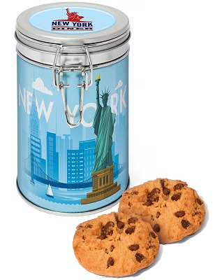 Biscuits Silver Flip Top Tin Can of 12 Choc Chip Cookies