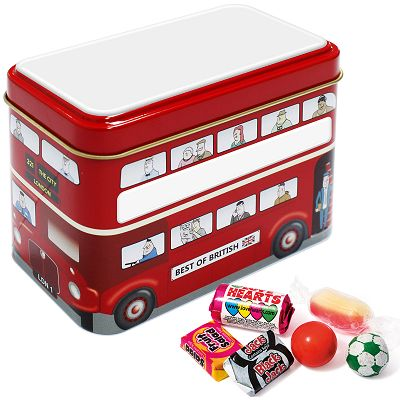 Promotional Bus Tin of Retro Sweets with a blank roof and side panels  before we print your logo
