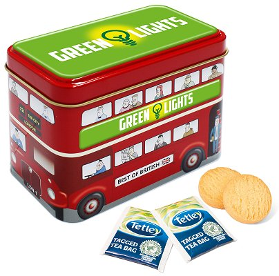 Bus Tin of Tea Bags & Shortbread Biscuits