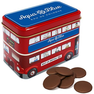 Promotional Milk Chocolate Buttons in a Bus Tin