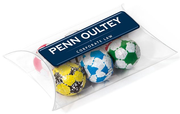 Promotional Foil Wrapped Chocolate Footballs in a Large Pouch