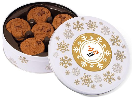 Promotional Christmas Belgian Chocolate Chip Cookies in a White Share Tin
