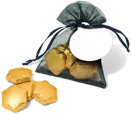 Promotional Gold Foil Chocolate Stars in an Organza Bag with a blank tag before we print your logo