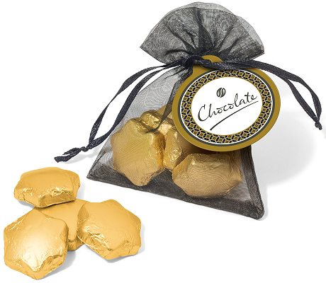Promotional Gold Foil Chocolate Stars in an Organza Bag