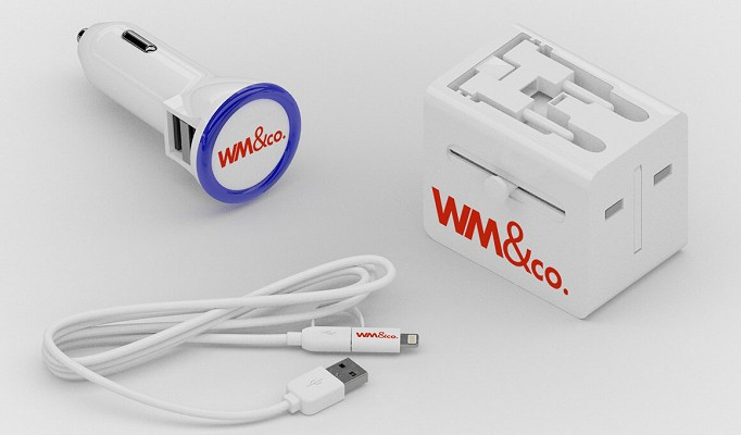 In-car charger, mains adaptor and 2-in-1 USB charging cable
