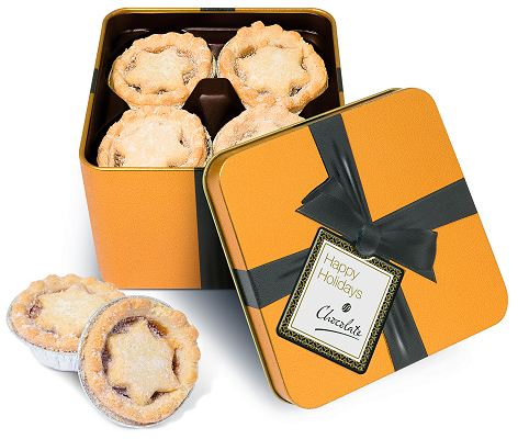 Mince Pies in a Large Gold Square Tin