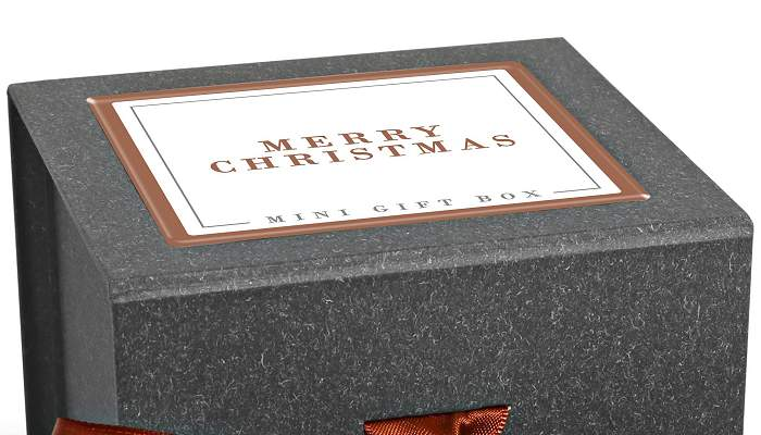 Promotional Mini Christmas Chocolate Gift Box with logo printed domed label.