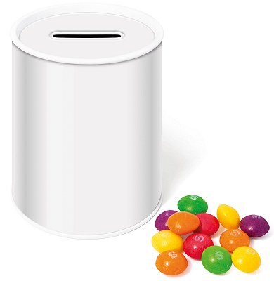 Blank Promotional Money Box Tin of Skittles Sweets for printing with your logo
