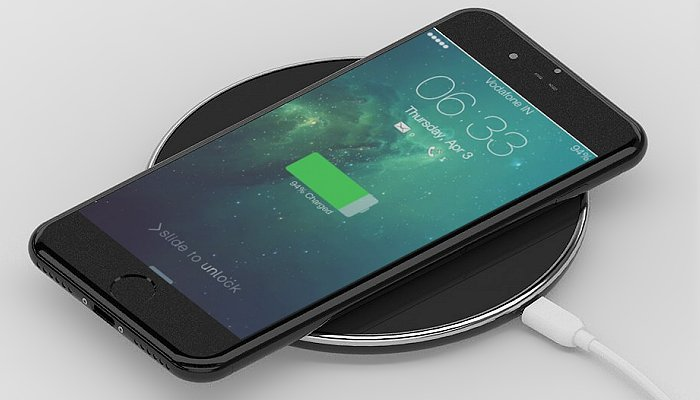 Express QI Wireless Chargers with a black surface
