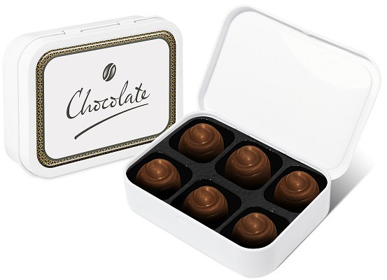 Promotional Salted Caramel Chocolate Swirls in a White Sweet Tin