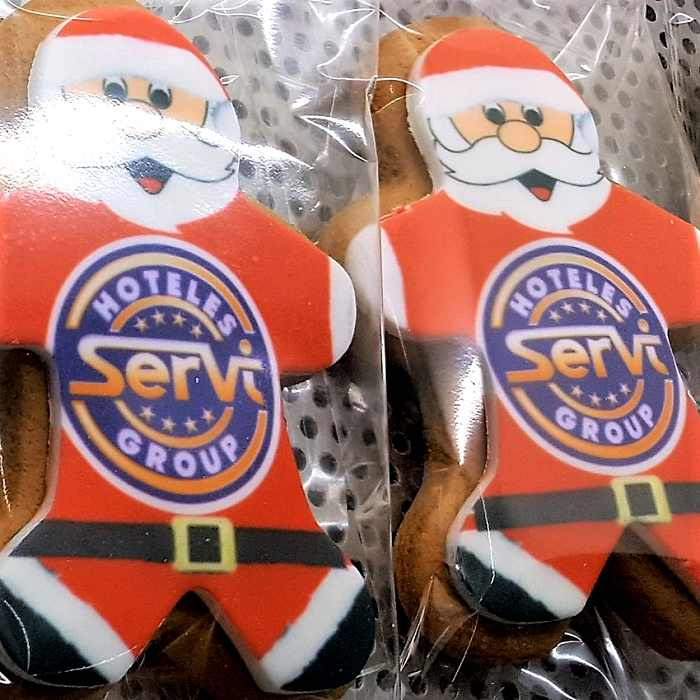 Promotional Shortbread Santa shapes with Logo Printing two in cellophane packaging