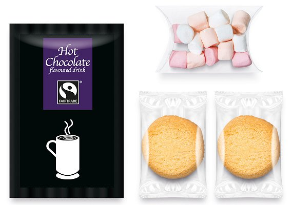 Filling of Promotional Snack Bags of Shortbread, Hot Chocolate and Marshmallows