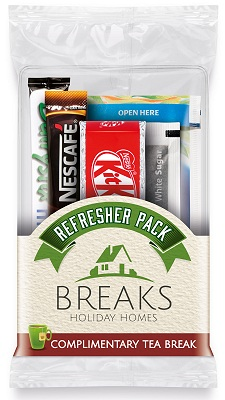 Promotional Snack Pack of Tea, Coffee, Milk, Sugar, Kit Kat with Printed Label Logo
