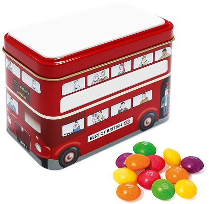 Promotional Tinned Sweets, Bus Tin of Skittles with a blank roof and side panels  before we print your logo