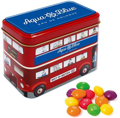 Promotional Tinned Sweets, Bus Tin of Skittles