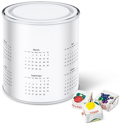 Promotional Tins of Sweets, Calendar Tins with Fruit Caramels with a calendar wrap before we print your logo