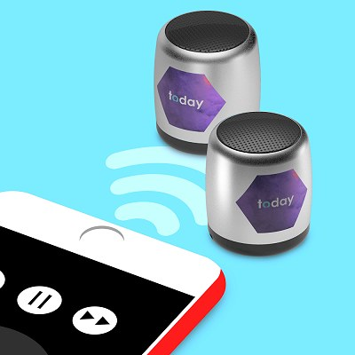 Tiny bluetooth speakers pairing with a mobile phone