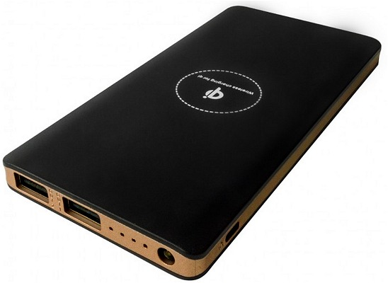 Promotional Wireless Power Bank 8000mAh Black with Gold Trim