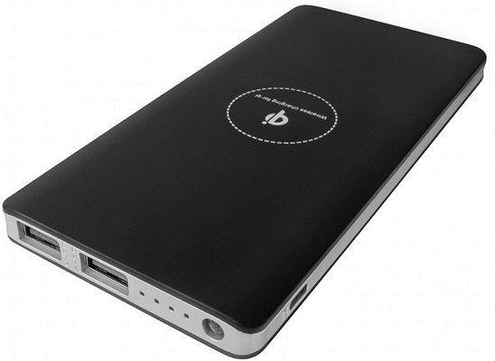 Promotional Wireless Power Bank 8000mAh Black with Silver Trim