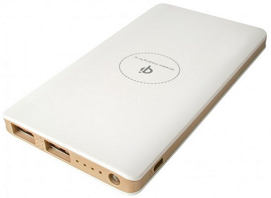Promotional Wireless Power Bank 8000mAh White with Gold Trim