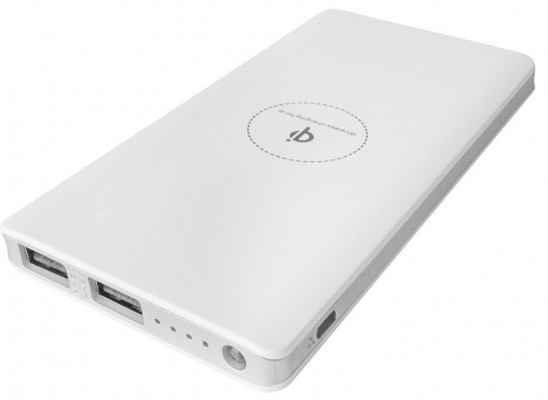 Promotional Wireless Power Bank 8000mAh White with Silver Trim