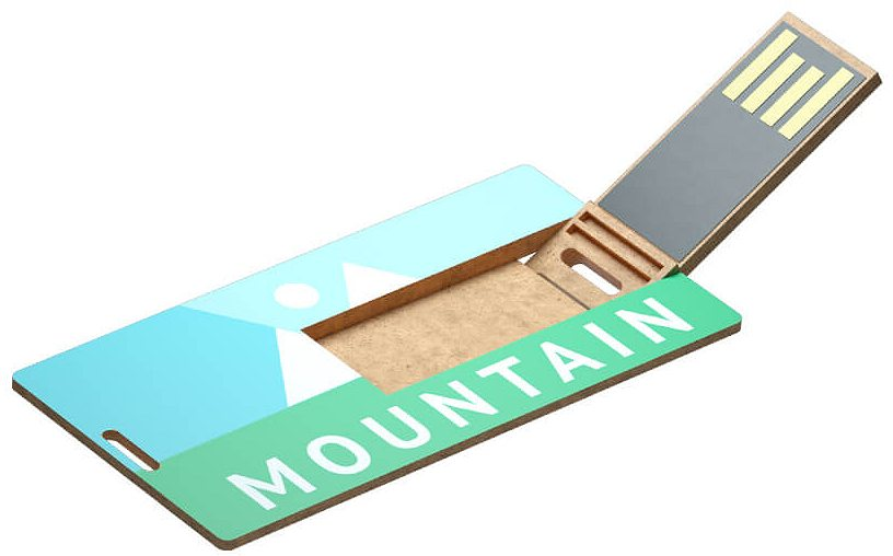 Recycled Plastic Mini Card USB Drive Logo Printed printed in full colour