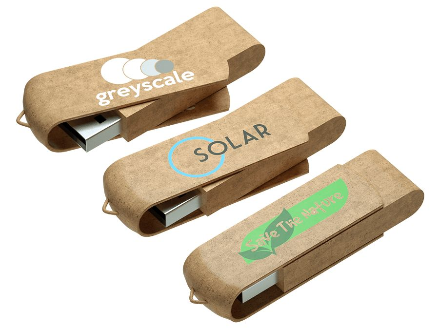 Recycled Plastic USB Stick Logo Printed