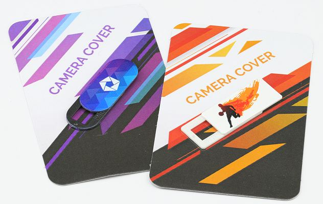 Slide Camera Cover Branded Giveaway mounted on printed cards