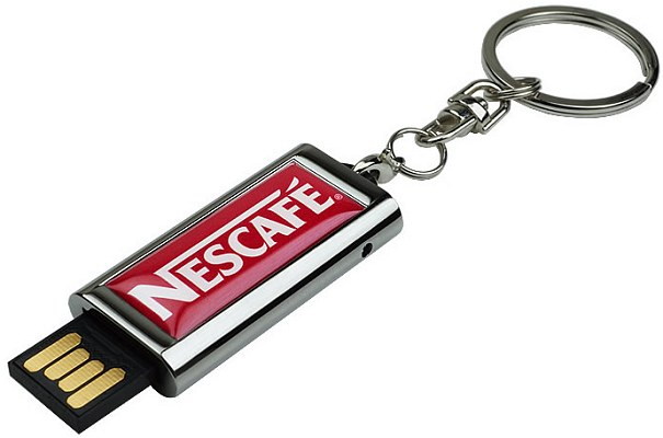 Slide USB stick flash with keyring