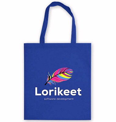 Tote Bag Promotional Giveaway blue colour fabric full colour print