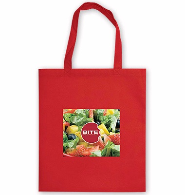 Tote Bag Promotional Giveaway red colour fabric full colour print