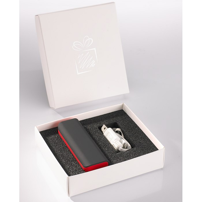 Power bank in white box packaging