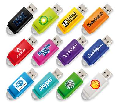 USB Stick Slider in twelve standard colours
