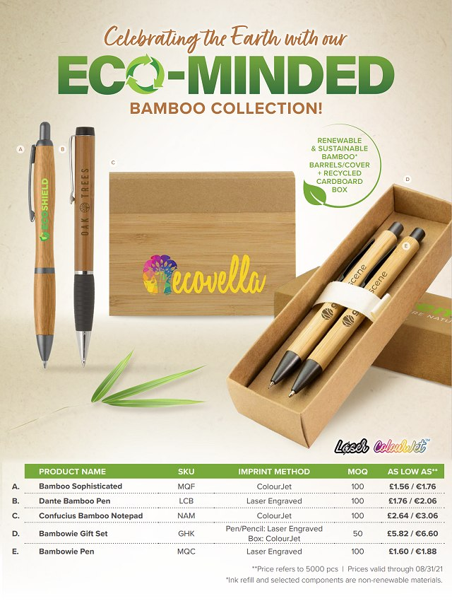 Eco Minded Bamboo Collection Special Offer Pens